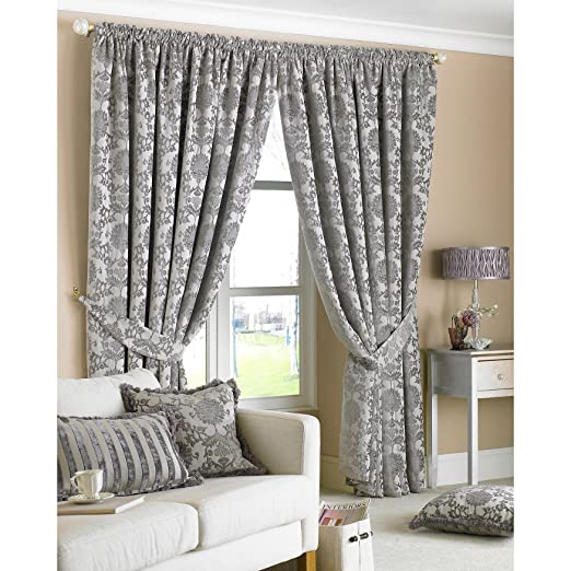 Hanover Black Curtains 90 x 90 inch drop, Fully Lined, Damask ...