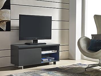 Mobile TV con LED 1 sportello colore grigio antracite: Amazon.it ...