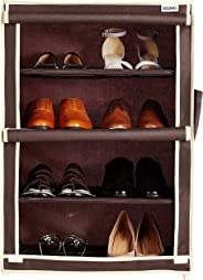 Amazon Brand - Solimo Shoe Rack, 4 Racks, Brown