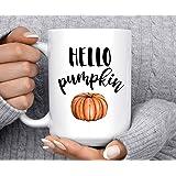 Koffiemok Hello Pompoen Herfst Mok Pompoen Mok Herfst Mok Good Morning Pompoen Leuke Mok Halloween Mok