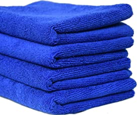 SOBBY Microfibre Cleaning Cloth - 40 cm x 40 cm - 340 gsm, ( Dark Blue, Pack of 4 )