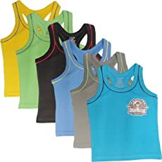 UCARE Boys Vest Printed Cotton Baby Vests, (5014-Pack of 6) (Multicoloured)