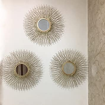 mirror set. buy sun decorative mirror (set of 3 mirrors) (golden) online at low prices in india - amazon.in set