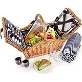Picknickkorb Lord für 4 Personen mit Picknickdecke 28 teilig Weidenkorb