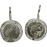 Orecchini da donna SILBERMOOS moneta romana cesare antico rotondo argento Sterling 925 lucido