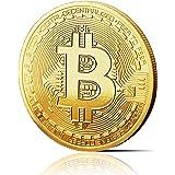 innoGadgets Physische Bitcoin Medaille mit 24-Karat Echt-Gold überzogen. Wahres Sammlerstück mit Schutzhülle, Münzkapsel. Per