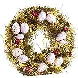 Britesta Oster Dekokranz: Osterkranz mit rosa- und fliederfarbenen Eiern, gelbem Stroh, Ø 34 cm (Türdeko Kranz)