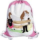 HECKBO® Pferde Mädchen Turnbeutel - mit Buntem Pferd Bauernhof Motiv (beidseitig) - 40x32cm - waschmaschinenfest - geeignet f