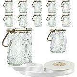 WeddingTree 12 x Photophores avec Anse et Ruban Décoratif Blanc - Bougeoirs - Bougie Verre - Déco de Table pour Mariage, Gard