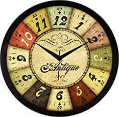 IT2M 11.75 Inch Wall Clock - French Vintage Design (9084)