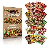 Naturlie, juego de 20 semillas de chile de Naturlie, 20 variedades de semillas de chile suave a muy afilado, juego de chile p