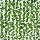 COCOBOO 12 Pack Artificial Ivy Garland Fake Vines for Room Decor Fake Plants Ivy Greenery Leaves UV Resistant, Home…