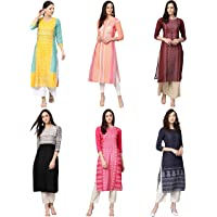 Vaamsi Women's PrinteN Polyester Straight Kurta Combo (Pack of 6) (COPK(1583-1603-1651-1690-1691-1767) N_MulticoloureN)