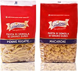 Gustora Pasta Penne Rigate PP and Pasta Macaroni PP, 1000 grams (Combo of 2)