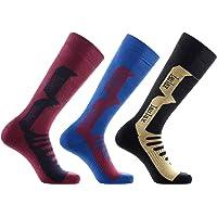 Laulax 3 Pairs Mens Cashmere-Like Long Hose Winter Thermal Ski Socks, Size UK 7 - 11 / Europe 40 - 46, Gift Set, Black…