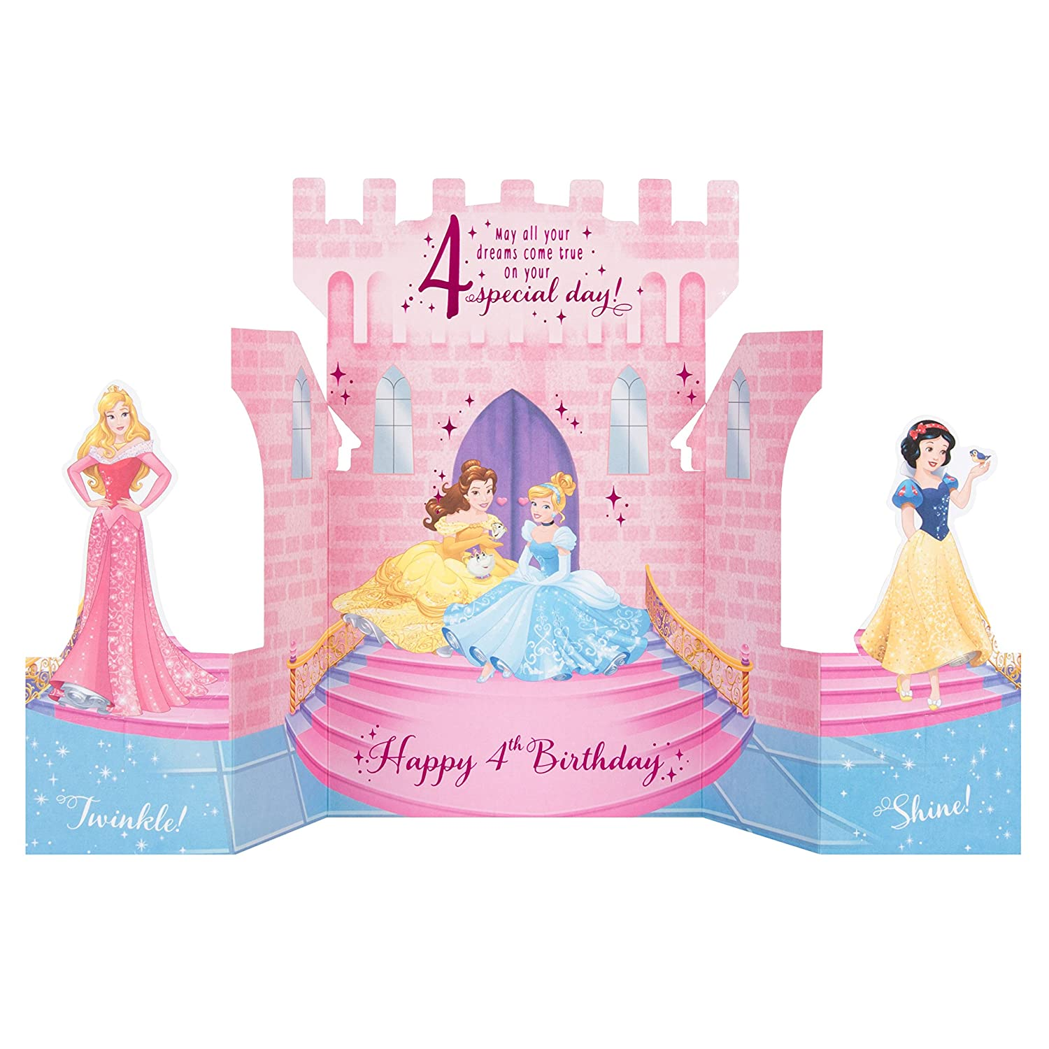 Hallmark Disney Princess 4th Birthday Card Pop Up Castle Medium