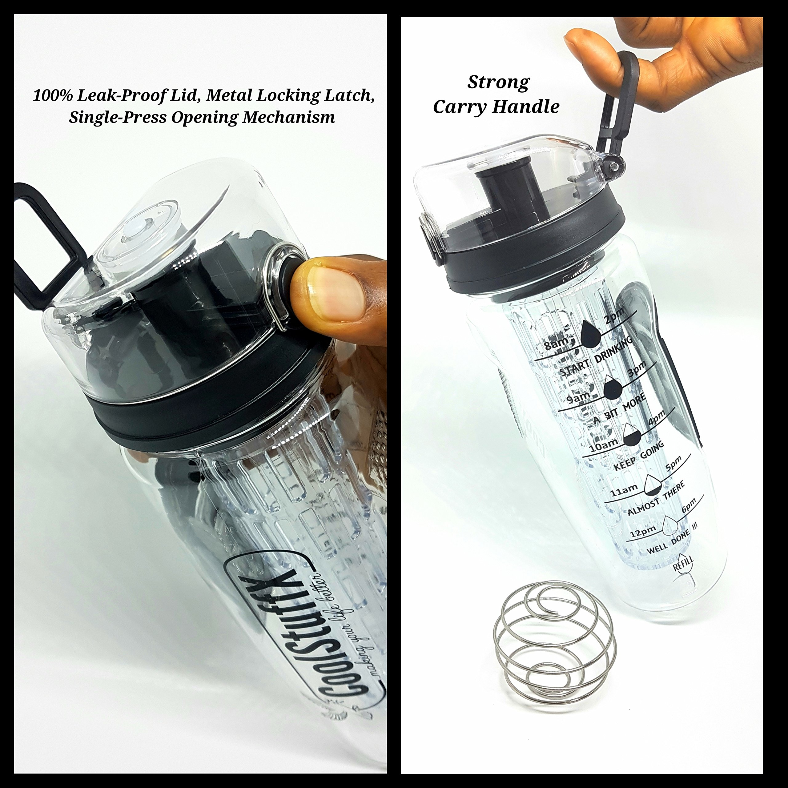 Coolstuffx-3-in-1-Fruit-Infuser-water-bottle-protein-shaker-Long-Infuser-rod-Large-1-litre-or-32oz-motivational-time-guide-BPA-Free-no-leak-Anti-condensation-sleeve-FREE-Recipe-eBook