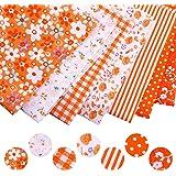 7pcs / Set Tissu en Coton pour la Couture Quilting Patchwork Home Textile Série Rose Tilda Doll Body Cloth (Orange, 25x25cm)