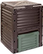 KOMPOSTER Kompo von 4smile – Made in Europe | 300 l Gartenabfallbehälter | Thermo Kompostierer ohne Boden für pflanzliche Bioabfälle | Farbe: anthrazit-dunkelgrün