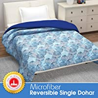 Divine Casa 110 GSM Microfiber Summer Single Size Reversible Printed Comforter for AC Room & Mild Winter (Floral, Sky Blue and Navy Blue)