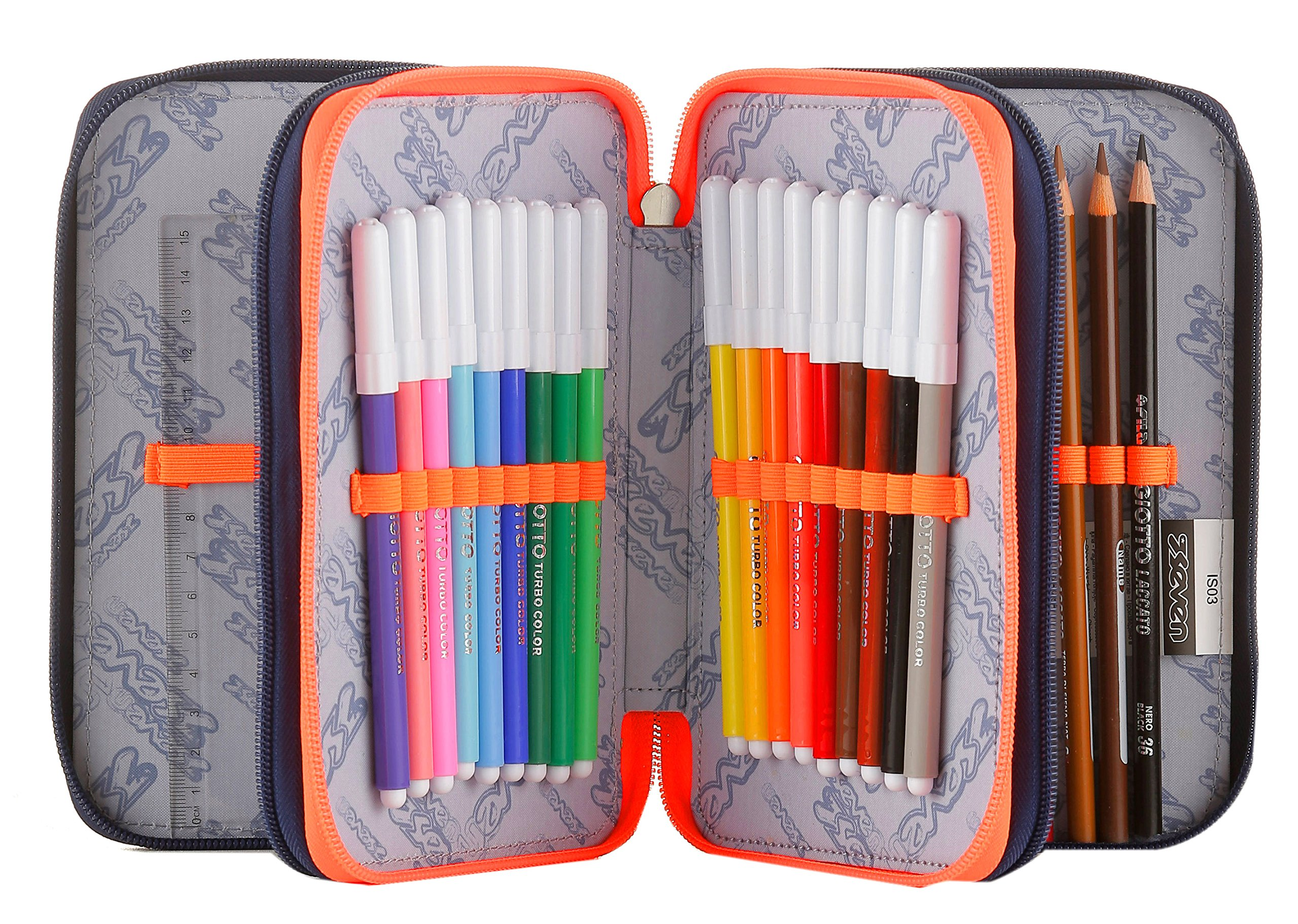Estuche 3 Cremalleras Seven , Maori , Azul , Pisos con Contenido: Lápices, Rotuladores …