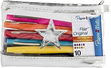 Paper Mate Flair Original Faserschreiber 10-er Mäppchen, lila/rosa/gelb/schwarz