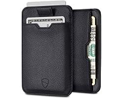 Vaultskin CHELSEA Slim Minimalist Leather Mens Wallet with RFID Blocking, Front Pocket Credit Card Holder (Black)