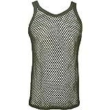 Men's 100% Cotton Club Star Mesh Fishnet Fitted String Vest