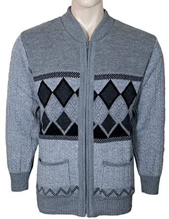 Bellisimo Mens Cardigans Knitted Classic Style With Zip Front V ...