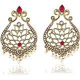 Rich Lady Pink Kundan Gold-Plated Dangle & Drop Earrings For Women & Girls
