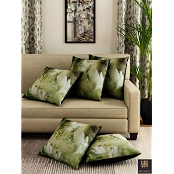Romee Polyester 3D Bird Printed Cushion Cover 16 inch x 16 inch Set of 5 - Green