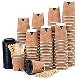 110 Vasos Desechables Ondulación Kraft de Doble Pared de Café para Llevar - Vasos Carton 240 ml 8 Onzas con Tapas y Agitadore