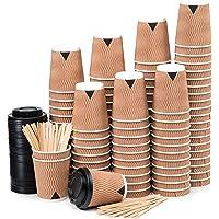 110 Kraft Ondulation Double Paroi Gobelets Carton pour Café à Emporter - Tasse Café 240ml avec Couvercles et Agitateurs…