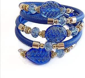VENEZIA CLASSICA - Bracciale da Donna con perle in Vetro di Murano Originale e vera pelle Toscana a cinque giri nero, con foglia in oro 24kt, Made in Italy certificato