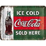 Nostalgic-Art Cartel de Chapa Retro Coca-Cola – Ice Cold – Idea de Regalo Aficionados a la Coke, metálico, Diseño Vintage Dec