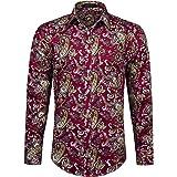 HISDERN Men's Casual Floral Shirts Long Sleeve Funky Shirt Fancy Paisley Unique Pattern Printed Shirt Cotton Regular Fit Shir