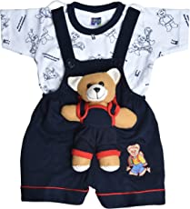 Roble Party Wear Romper Baba Suit Dungree Jumpsuit Blue Outfits For Newbron Babies Boys & Girls 6 Months -2 Years