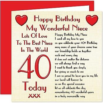 Niece 40th Happy Birthday Card
