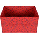 Kuber Industries Metalic Floral Print Non Woven Fabric Drawer Storage and Cloth Organizer Unit for Closet (Red…