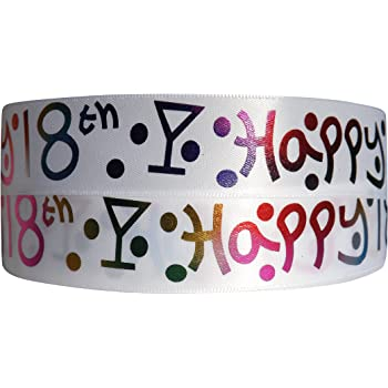 21st,30th,40th,50th,60th,70th-25mm wide 18th Birthday Ribbon Bertie/'s Bows