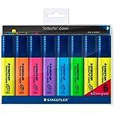 Staedtler classic 364 A WP8 Textsurfer, hohe Qualität, mit großem Tintenspeicher für extra lange Markierleistung, Set mit 8 Textmarkern, Promotion 6 + 2 gratis