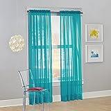 "No. 918 Calypso Sheer Voile Rod Pocket Curtain Panel, 59"" x 84"", Sky Blue, 1 Panel"