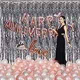 CherishX.com Rose Gold Anniversary Decoration Kit - 81Pc DIY Kit - Rose Gold Foil Happy Anniversary & Cursive Love, Silver He