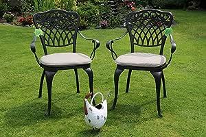 Made for us - 2 sedie da giardino in alluminio pressofuso resistente alle condizioni atmosferiche con vernice a fuoco AkzoNobel resistente ai raggi UV. Inclusi 2 cuscini lavabili. L'originale.