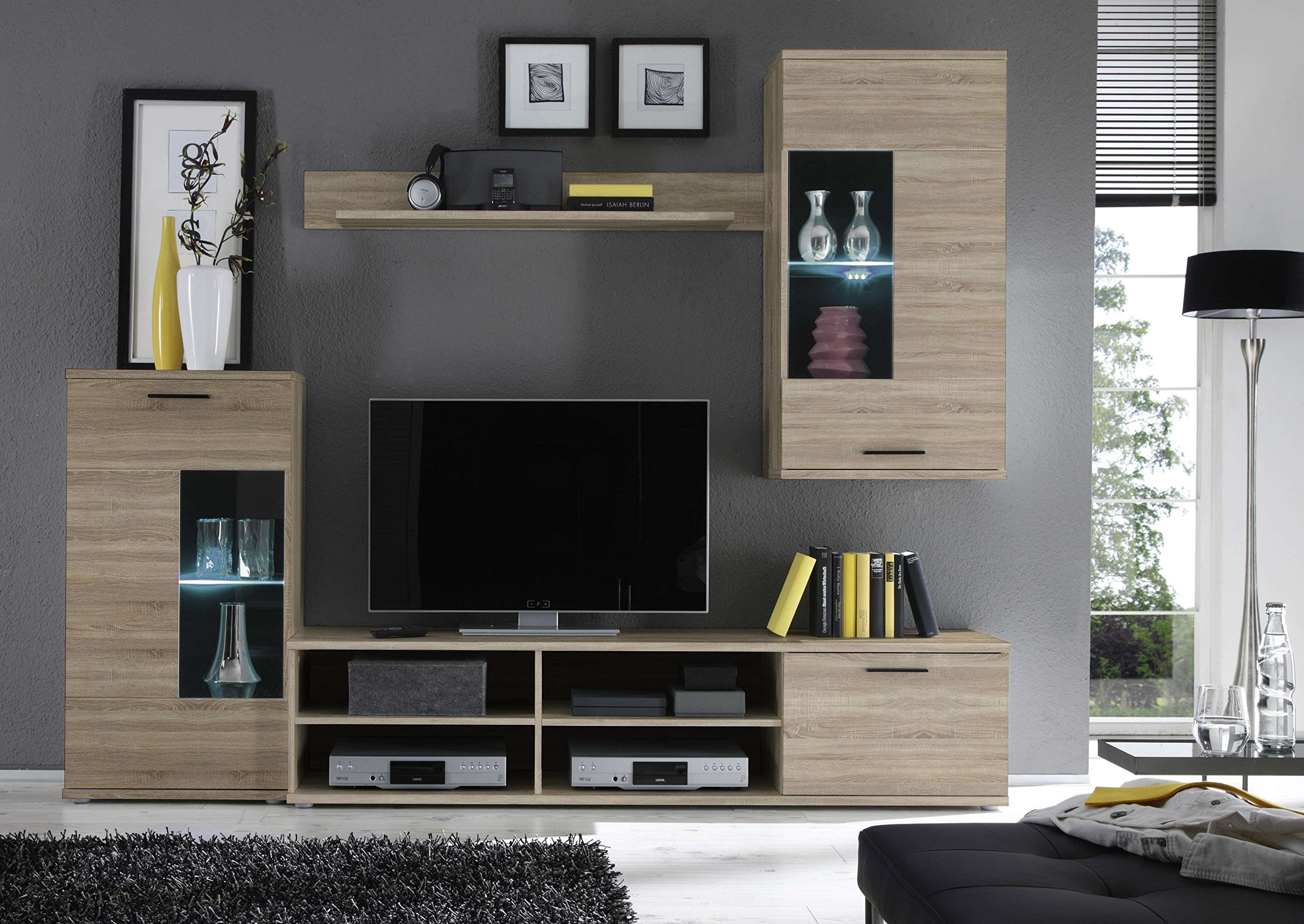 Parete attrezzata soggiorno in legno porta tv.