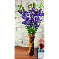 VTMT PETALSHUE Artificial Orchid Flower Bunch for Home Decoration and Garden Decor (5 Stems, 45 cm)