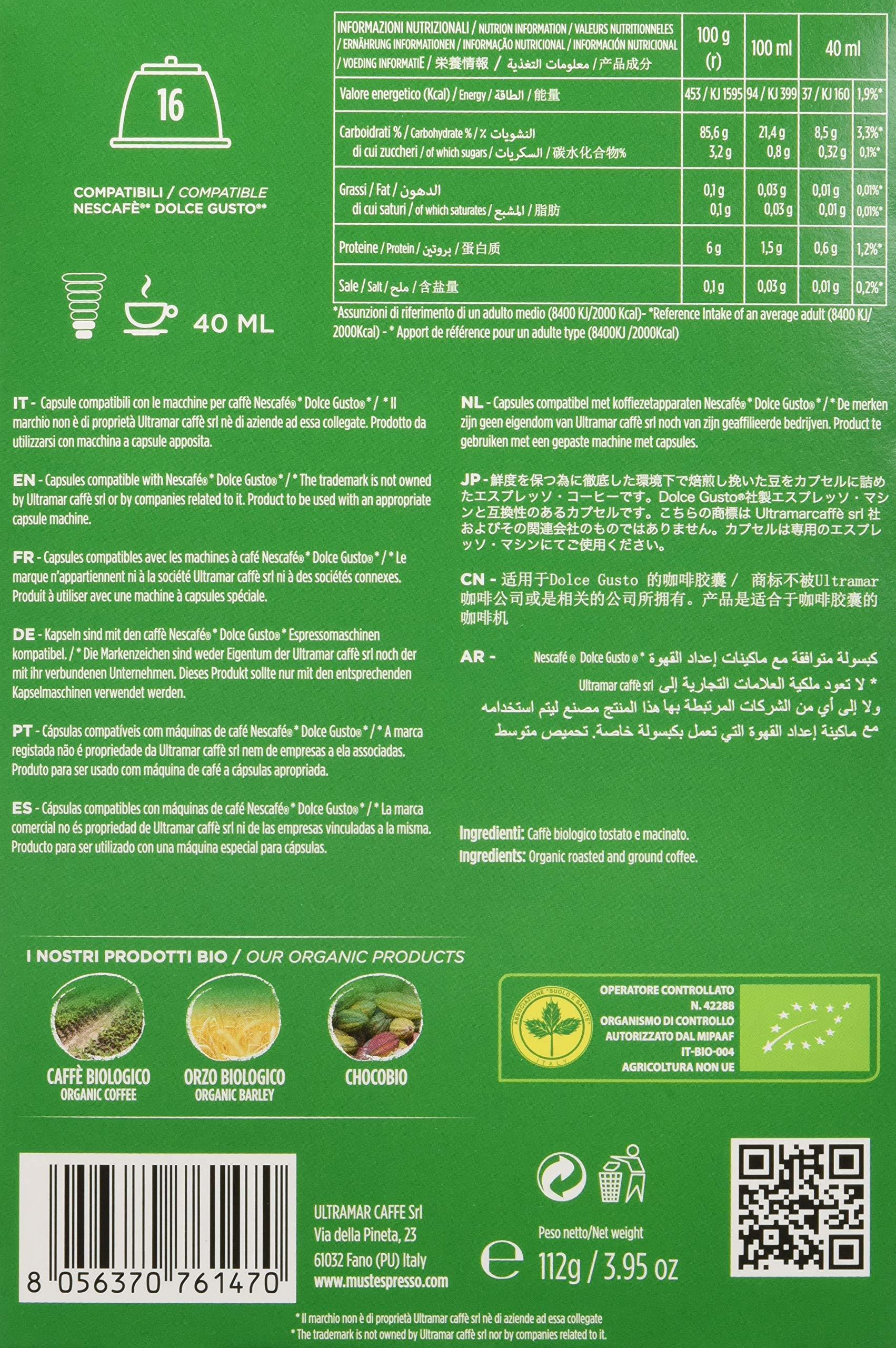 Must Espresso Italiano 96 Capsule Compatibili Dolce Gusto Caffè Bio - 6 confezioni da 16 capsule 4 spesavip