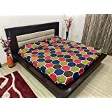 TIB Geometrical 100% Cotton King Size Elastic Fitted Bed Sheets with 2 Pillow Covers - Multi-Color | 160 TC | Best…