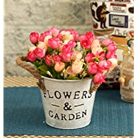 TIED RIBBONS Artificial Flowers Bunch with Beautiful Metallic Pot for Home Décor Living Room Office Dining Room Bedroom Side Corners Centerpieces Centre Table