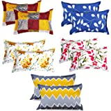 VAS COLLECTIONS® 105 TC 100% Cotton King Size Pillow Cover Combo-18X28 Inches,Set of 10 ( Yellow,Blue & Pink )